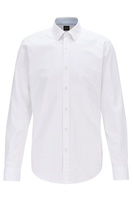 Regular-fit shirt in Oxford cotton and linen, White