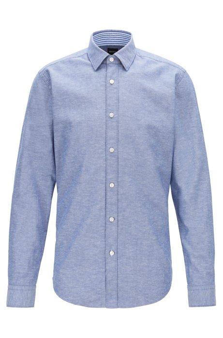 Regular-fit shirt in Oxford cotton and linen, Dark Blue
