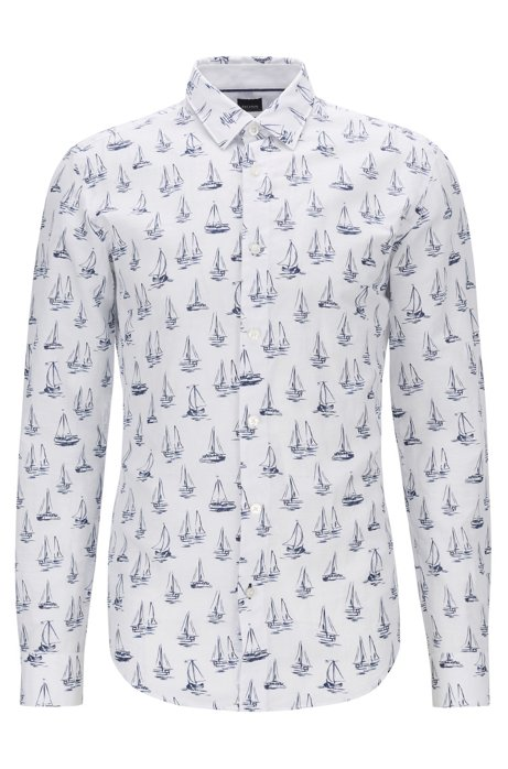 Linen-blend slim-fit shirt with all-over boat motif, Dark Blue