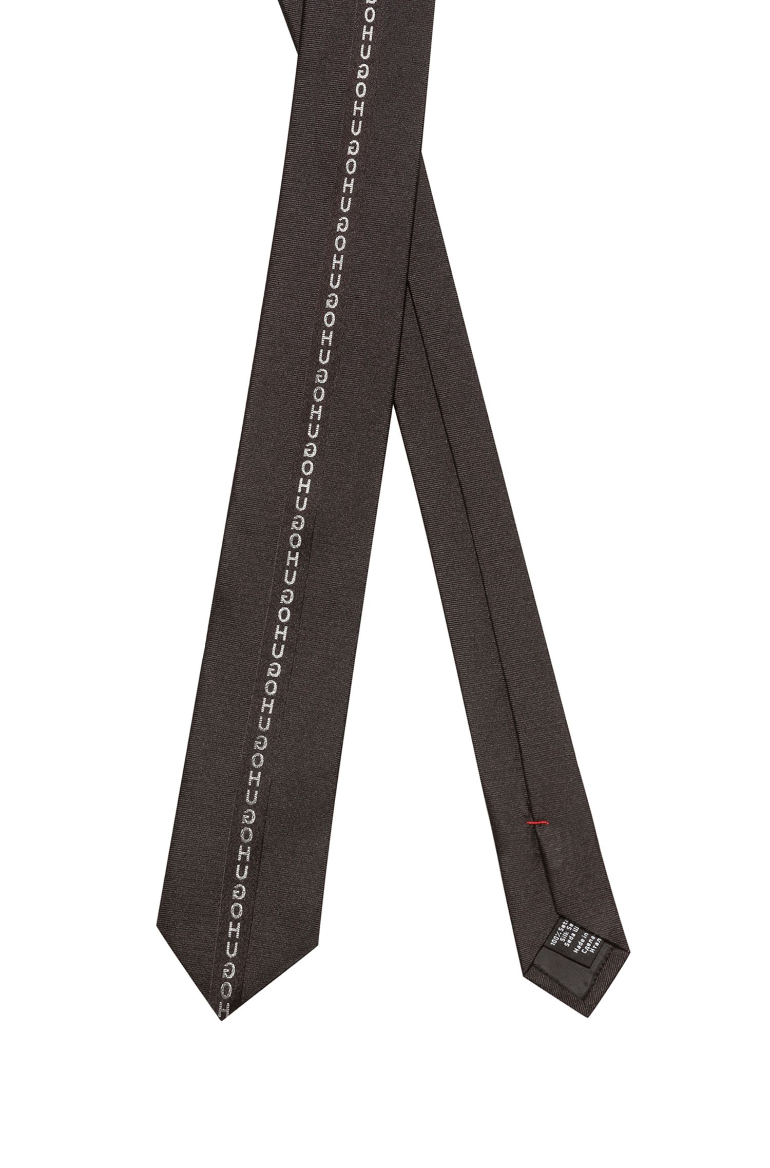 Pure-silk tie with reversed logo tape, Black