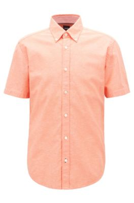 Short-sleeved slim-fit shirt in cotton and linen, Orange