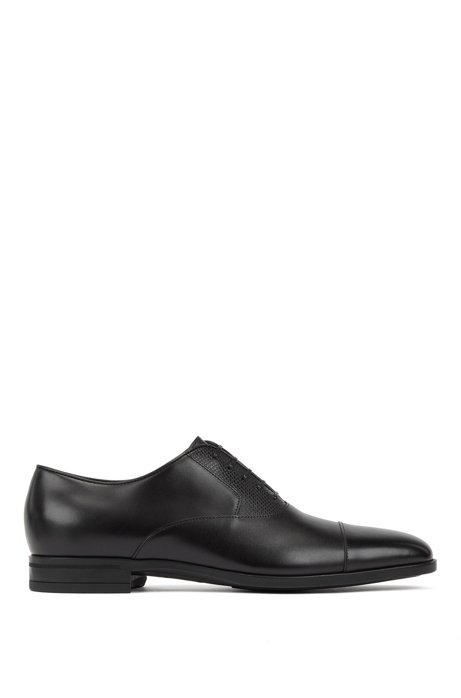 Burnished leather Oxford shoes with monogram embossing, Black