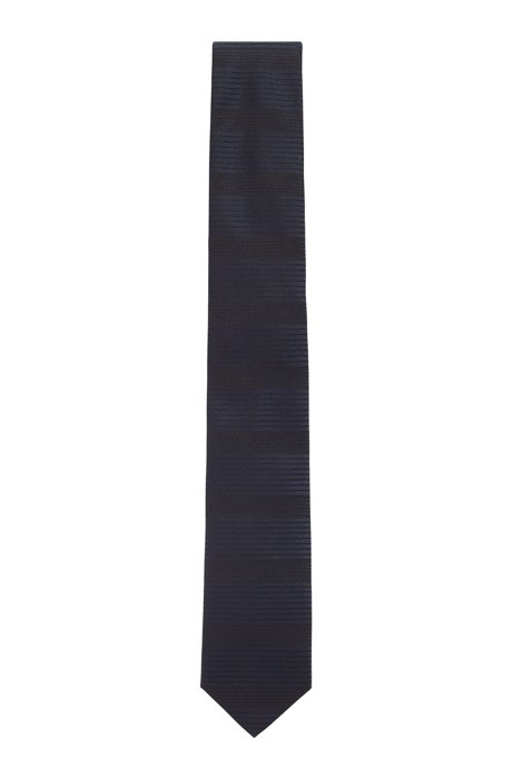 Hand-made tie in silk with mixed horizontal stripes, Dark Blue