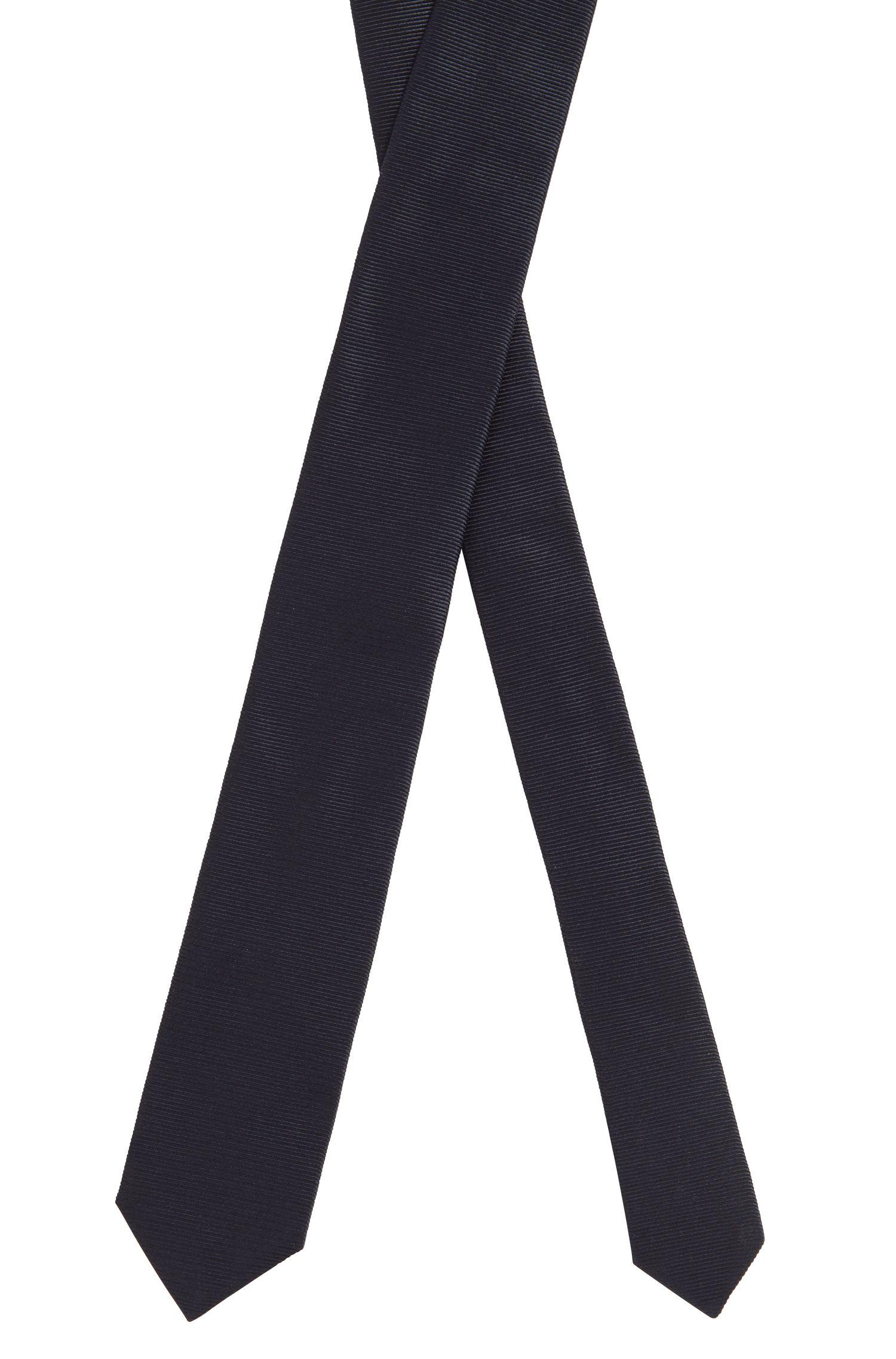 Hand-made tie in jacquard-woven pure silk, Dark Blue
