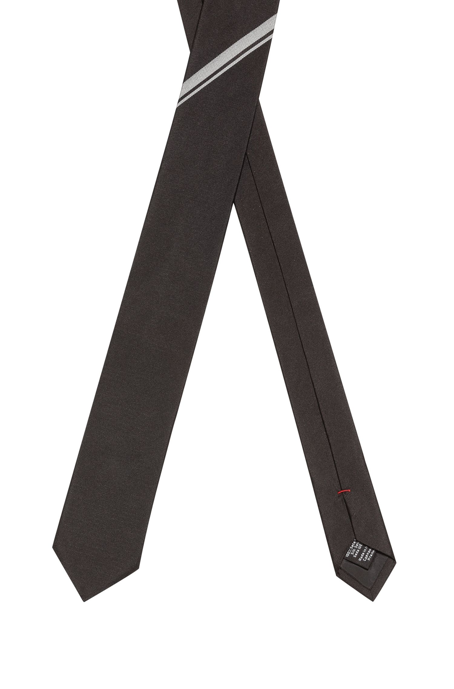 Silk-jacquard tie with stripe detail, Black