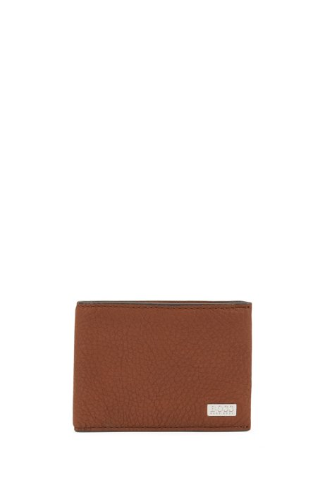 Billfold wallet in Italian leather with metal logo plate, Light Brown