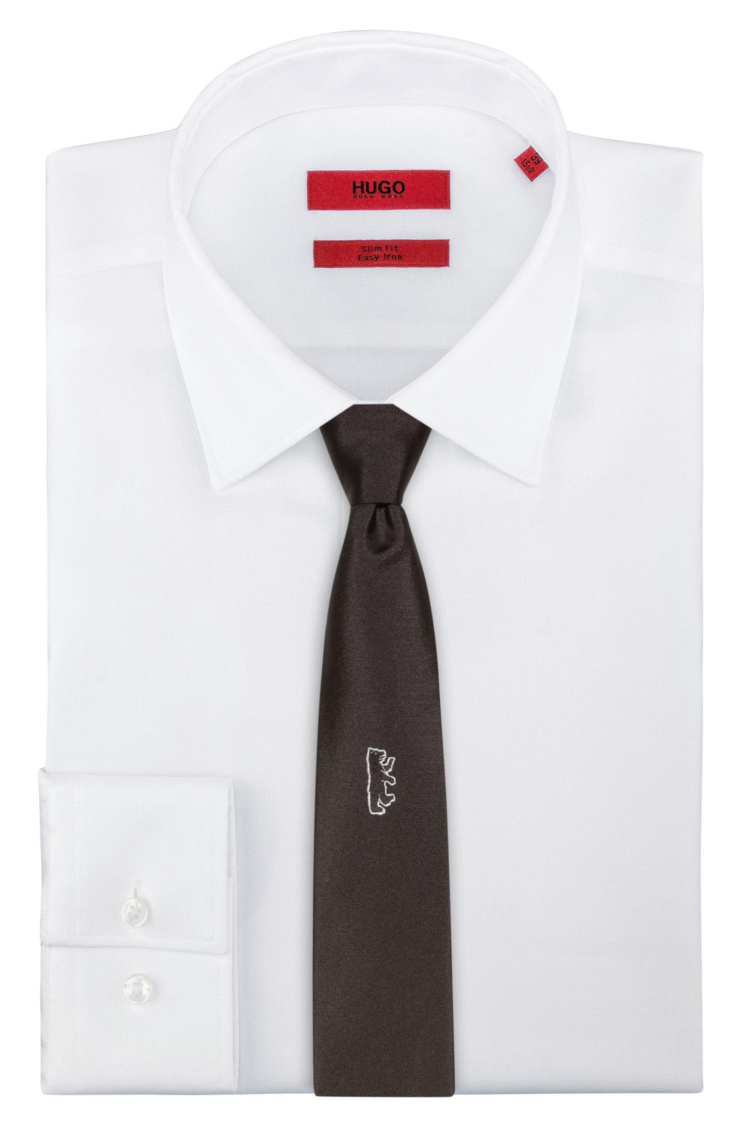 Silk tie with bear jacquard, Black