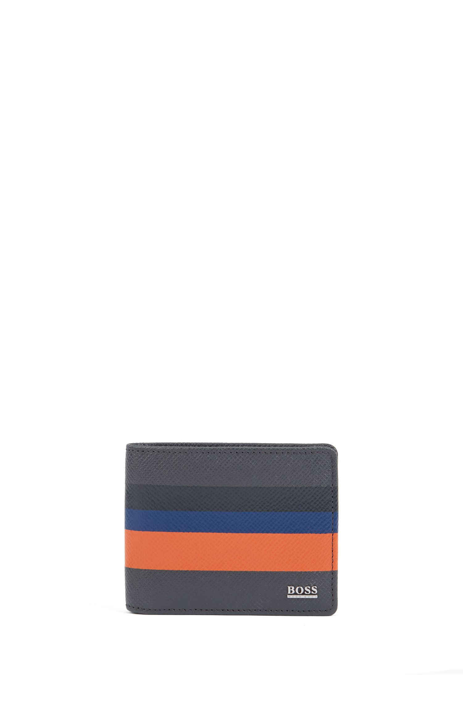 Signature Collection billfold wallet in colorblock palmellato leather, Dark Grey