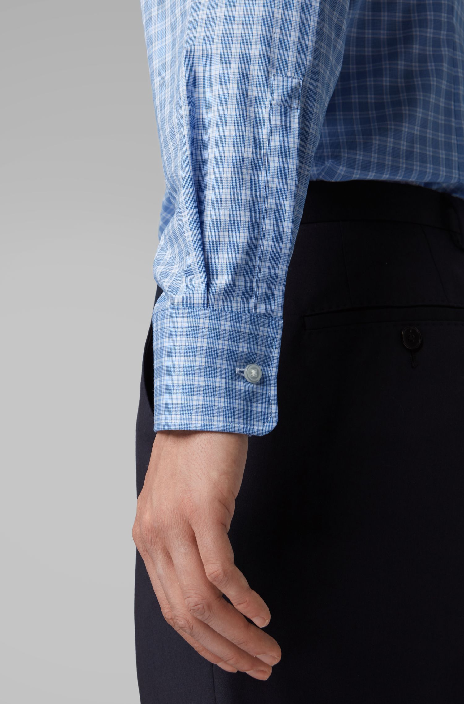 Glen-check slim-fit shirt in easy-iron cotton, Blue