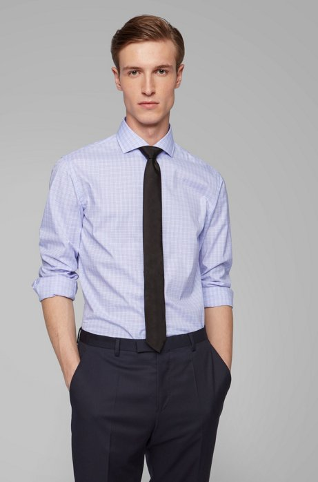Glen-check slim-fit shirt in easy-iron cotton, Purple
