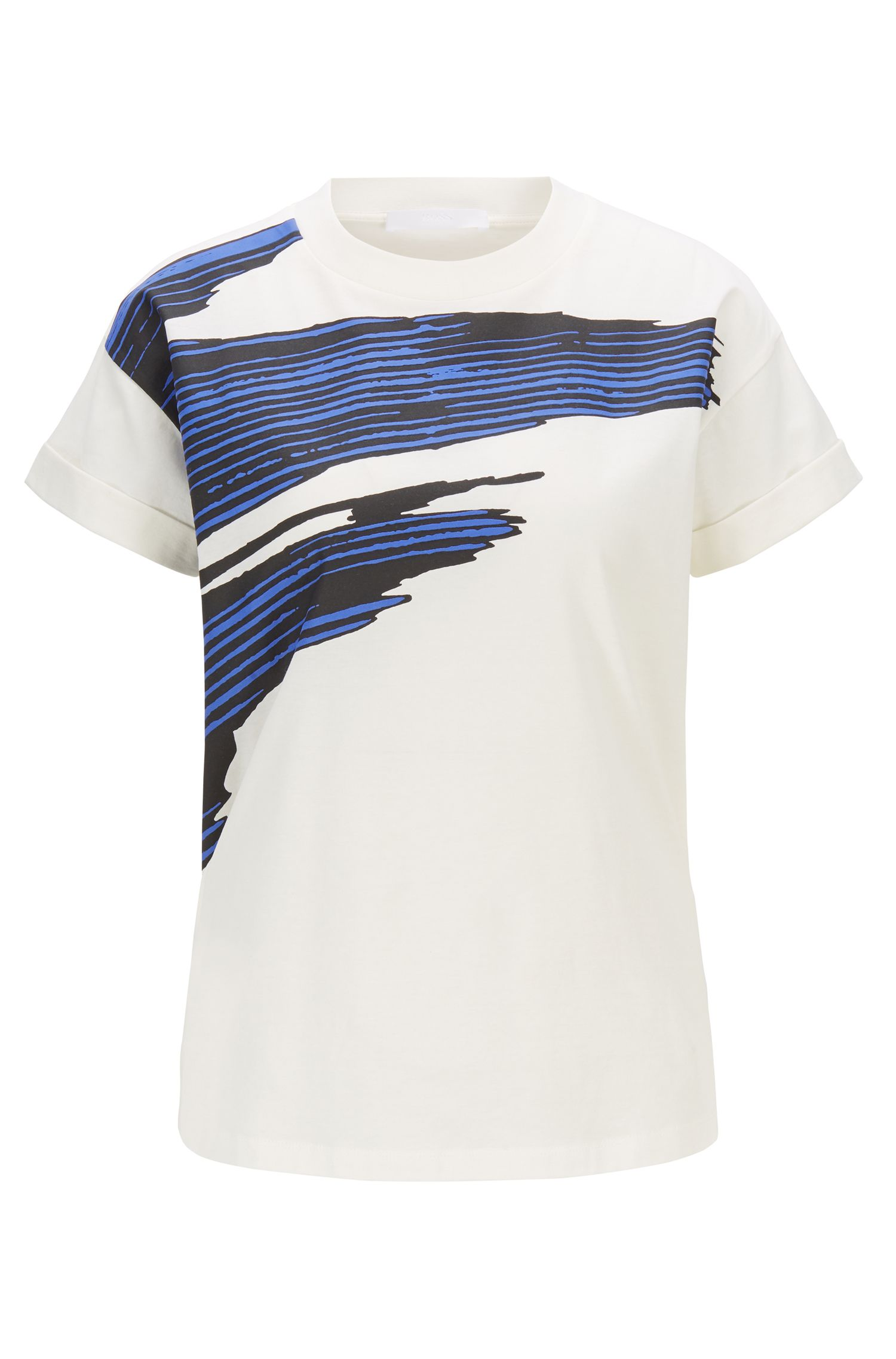 Relaxed-fit T-shirt in mercerized cotton with 3D print, Patterned
