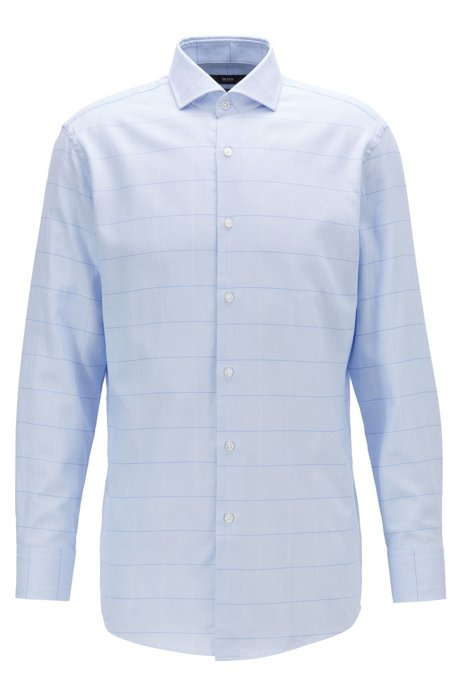 Slim-fit shirt in over-check cotton twill, Light Blue