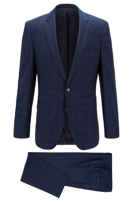 Slim-fit suit in checked virgin wool serge, Dark Blue