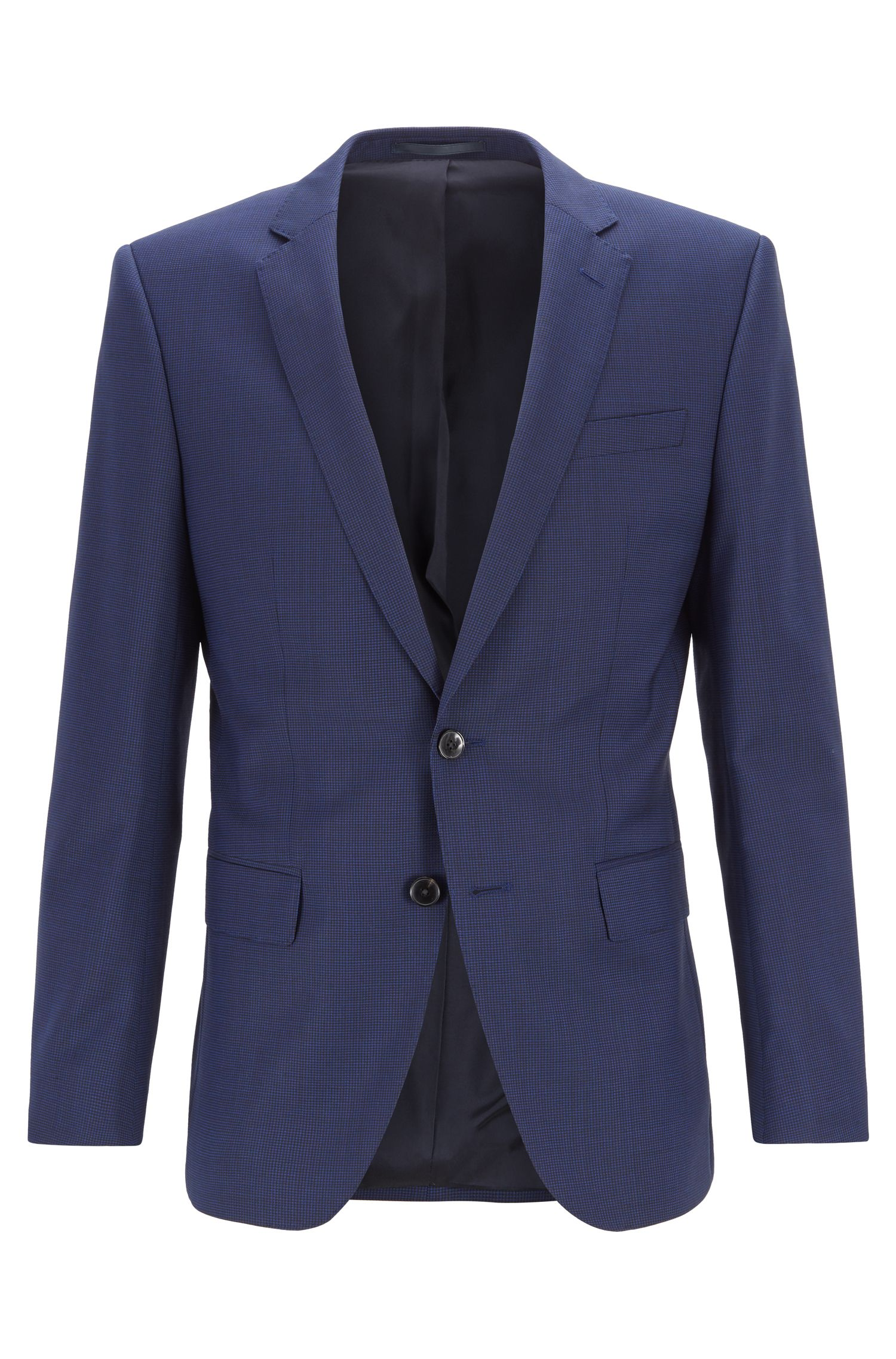 Slim-fit jacket in micro-patterned virgin wool serge, Dark Blue
