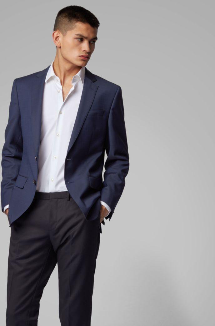 Slim-fit jacket in micro-patterned virgin wool serge