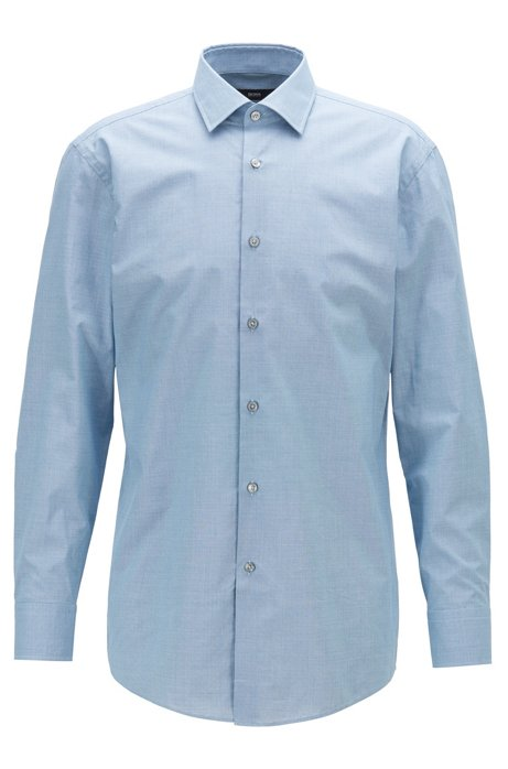 Micro-patterned slim-fit shirt in dobby cotton, Blue