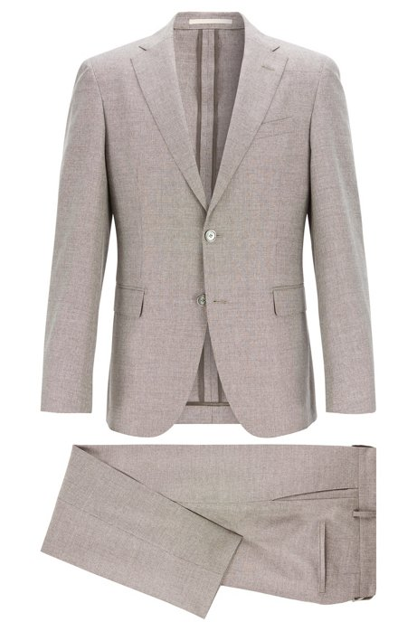 Micro-patterned slim-fit suit in wool with cotton and silk, Beige