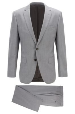 Boss SLIM-FIT SUIT IN VIRGIN WOOL WITH NATURAL STRETCH