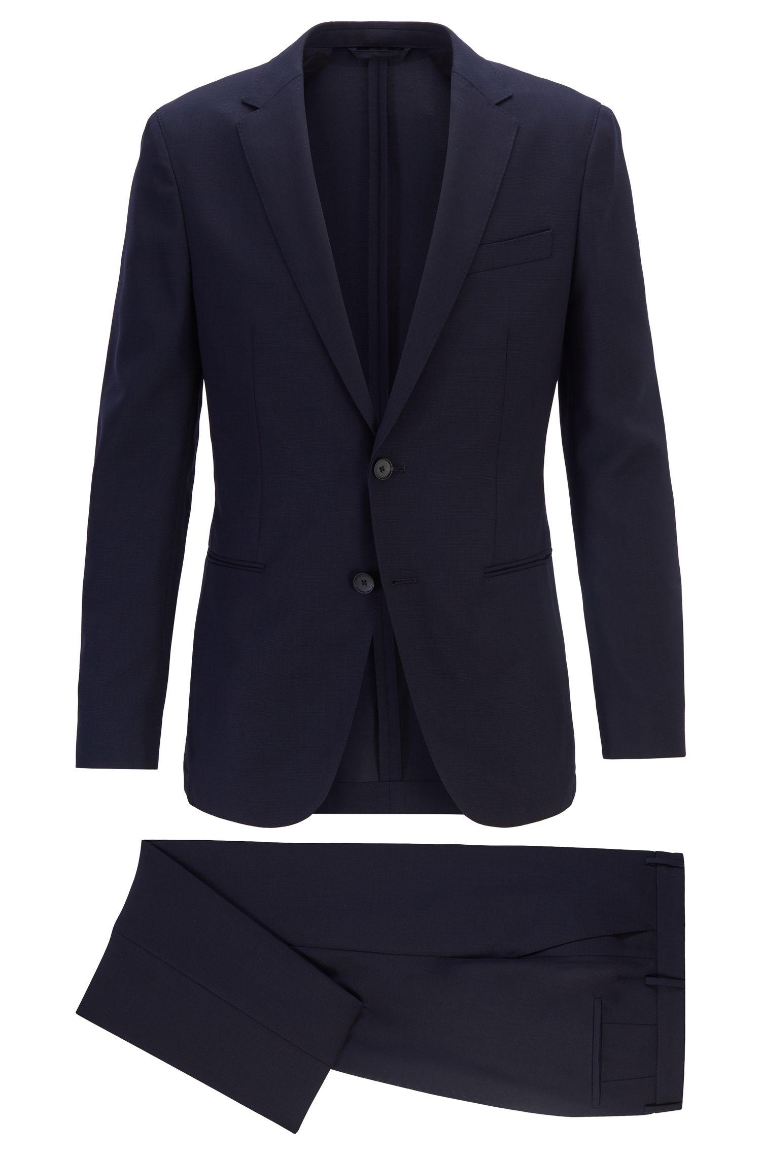 Slim-fit suit in micro-patterned virgin wool, Dark Blue