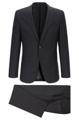 Slim-fit suit in micro-patterned Italian virgin wool, Black