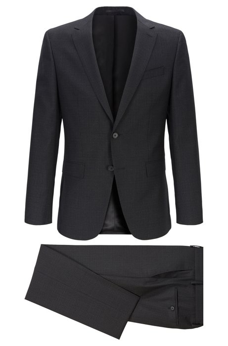 Slim-fit suit in micro-patterned Italian virgin wool, Black