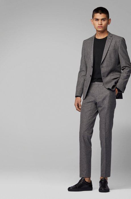 Extra-slim-fit suit in a micro-pattern wool blend, Open Grey