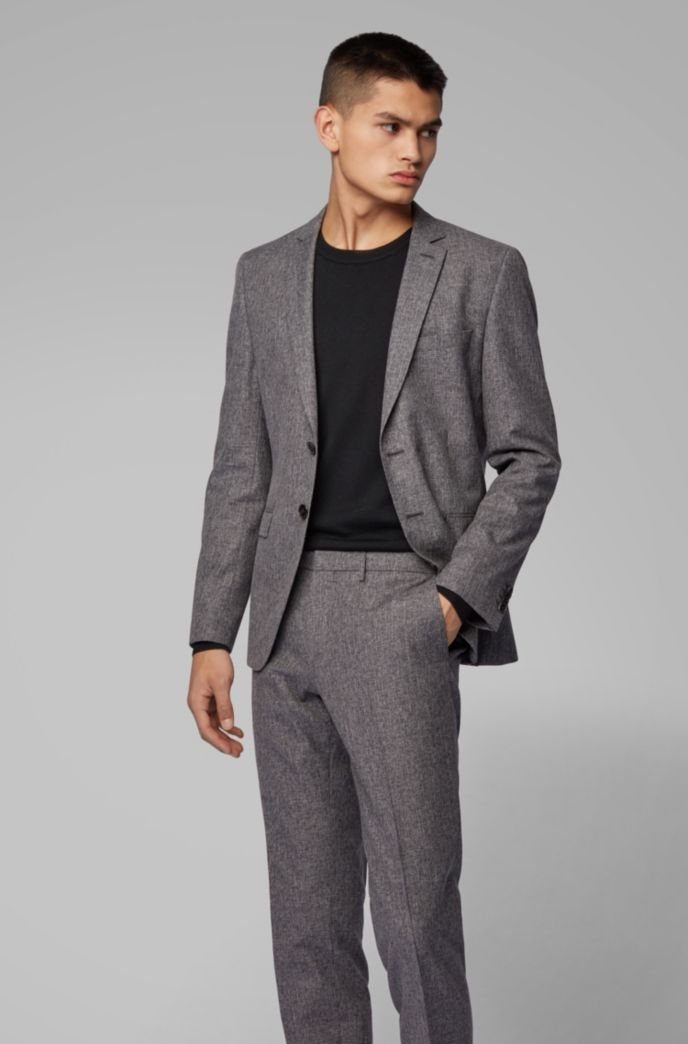 Extra-slim-fit suit in a micro-pattern wool blend