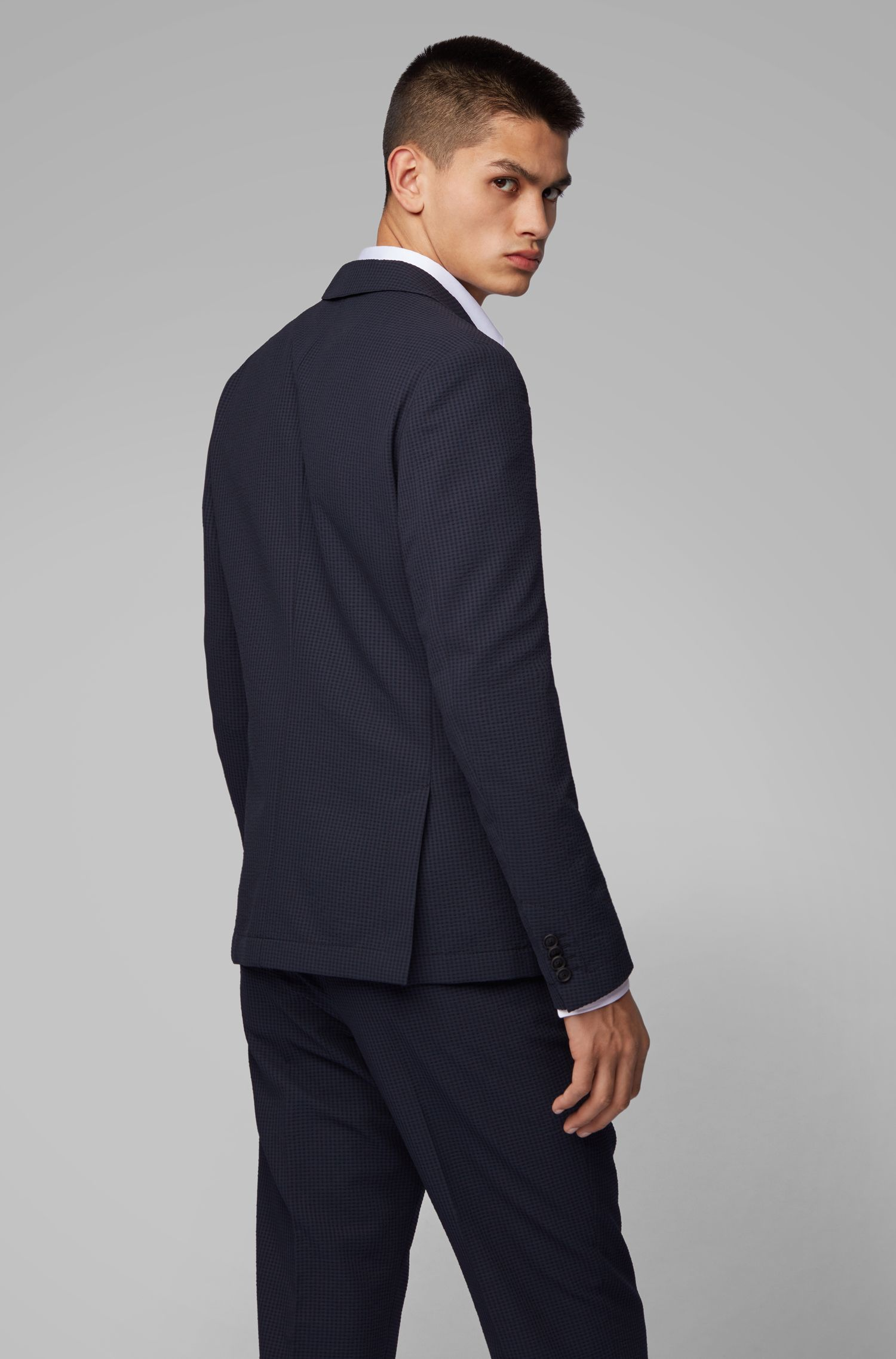 Slim-fit jacket in washable checked seersucker fabric, Dark Blue
