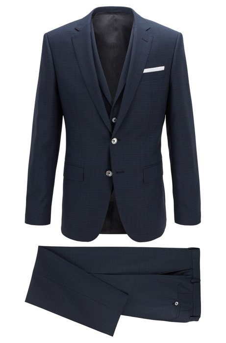 Slim-fit three-piece suit in plain-check virgin wool, Open Green