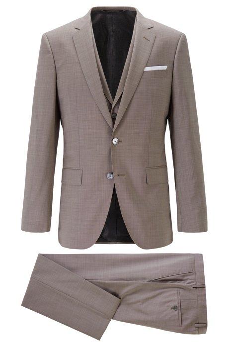 Slim-fit three-piece suit in virgin wool, Light Beige