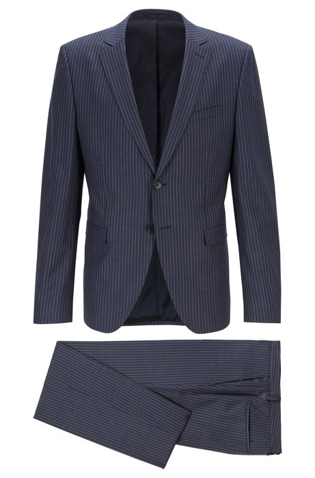 Extra-slim-fit pinstripe suit in virgin wool, Dark Blue