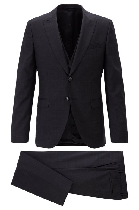 Extra-slim-fit three-piece suit in plain-check virgin wool, Black