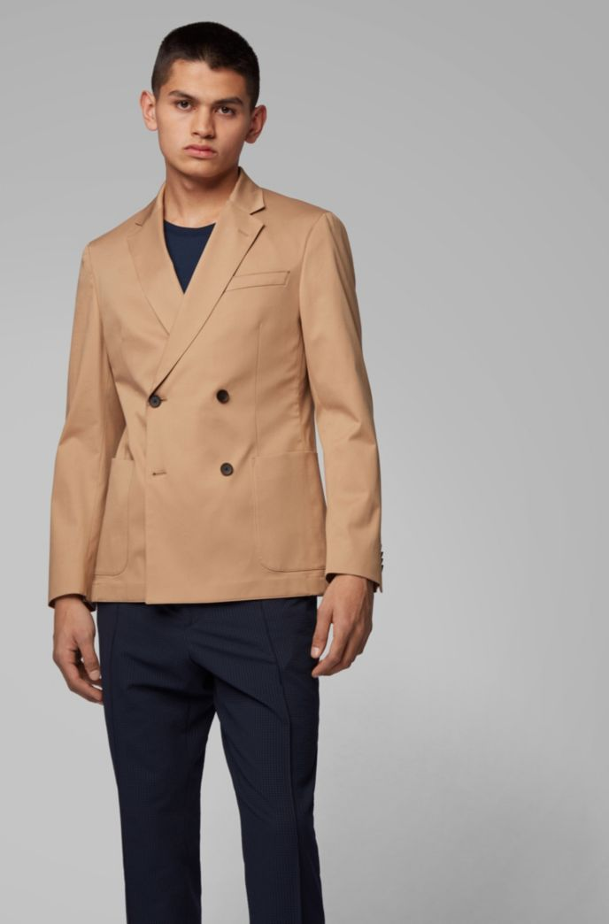Double-breasted slim-fit jacket in stretch-cotton gabardine