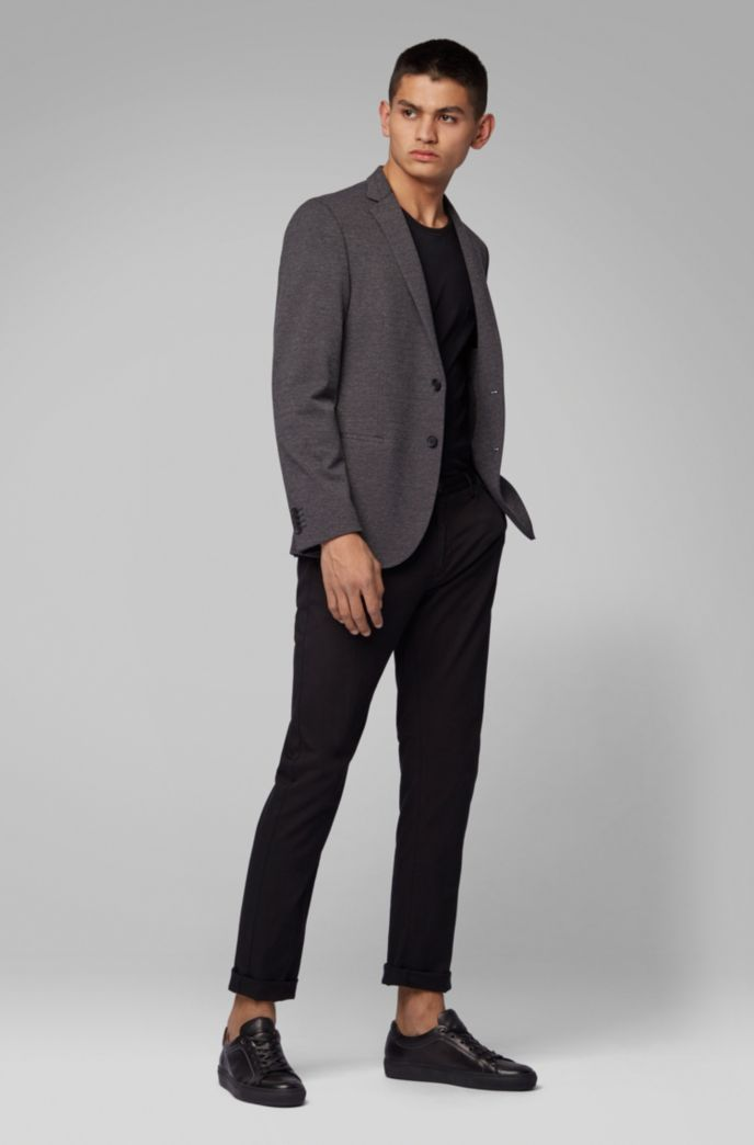 Slim-fit jacket in melange jersey with partial lining
