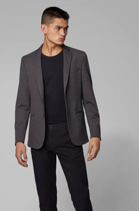 Slim-fit jacket in melange jersey with partial lining, Dark Grey