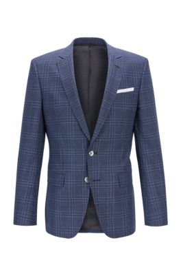 Slim-fit jacket in checked virgin wool serge, Dark Blue