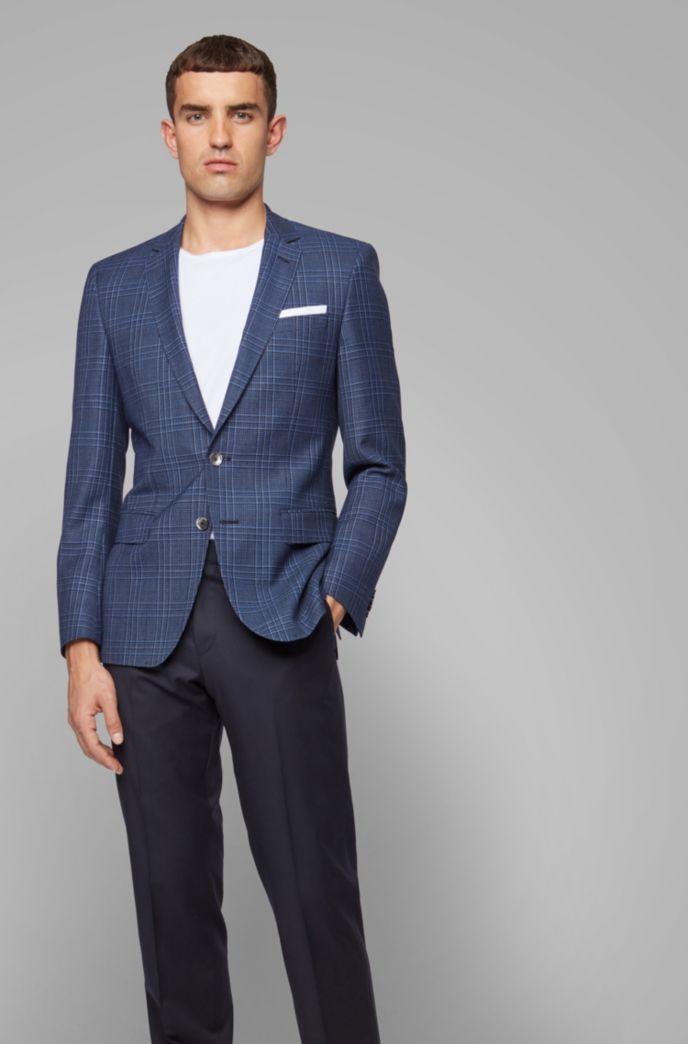 Slim-fit jacket in checked virgin wool serge