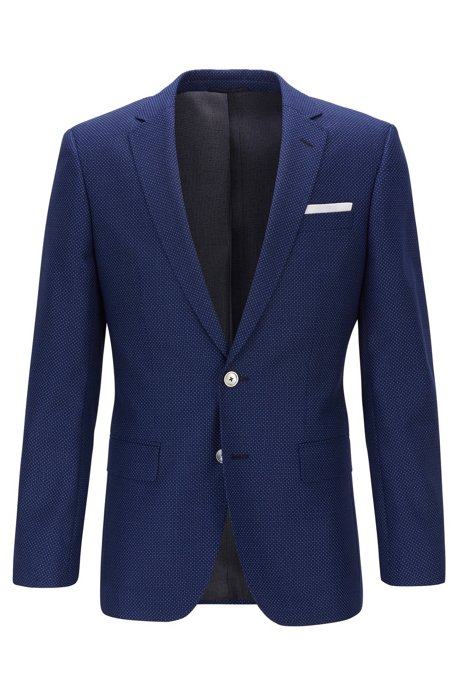 Slim-fit jacket in virgin wool with pocket square, Dark Blue