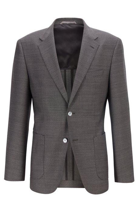 Regular-fit jacket in micro-patterned virgin wool, Open Grey