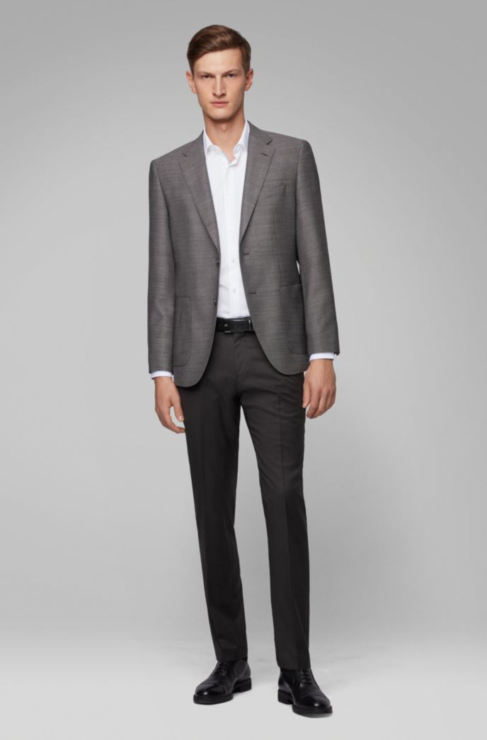 Regular-fit jacket in micro-patterned virgin wool