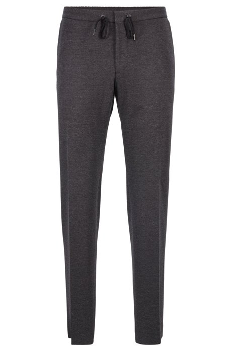 Cropped slim-fit pants with drawstring waistband, Dark Grey