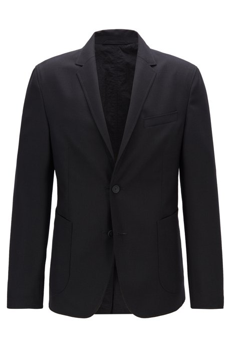 Reversible slim-fit jacket with buttoned cuffs, Black
