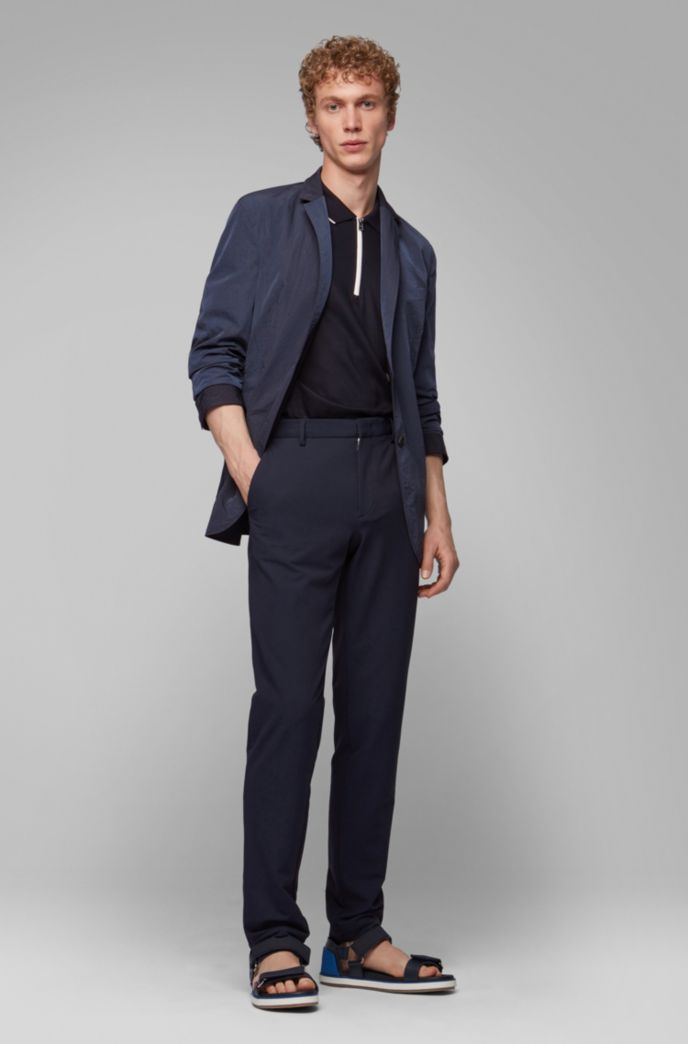 Reversible slim-fit jacket with buttoned cuffs