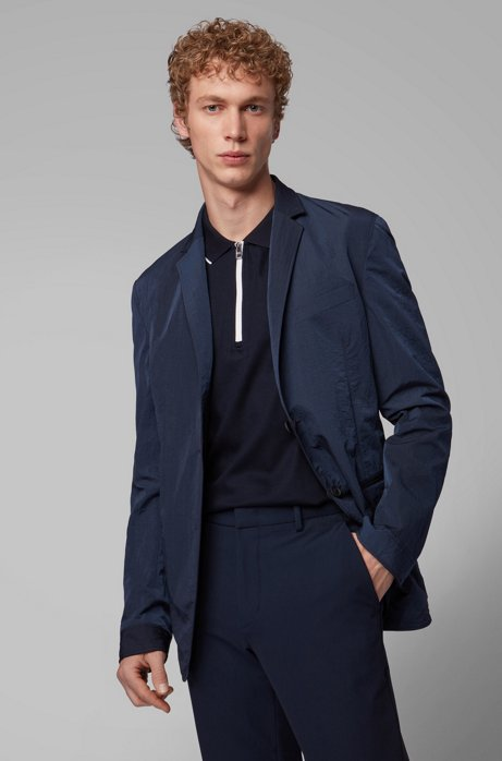 Reversible slim-fit jacket with buttoned cuffs, Open Blue