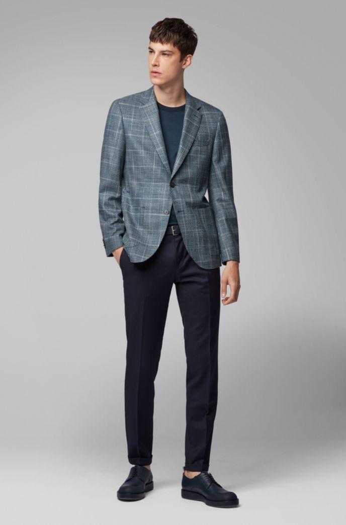 Regular-fit jacket in virgin wool with tussah silk