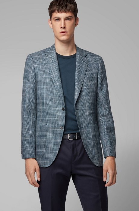 Regular-fit jacket in virgin wool with tussah silk, Open Green