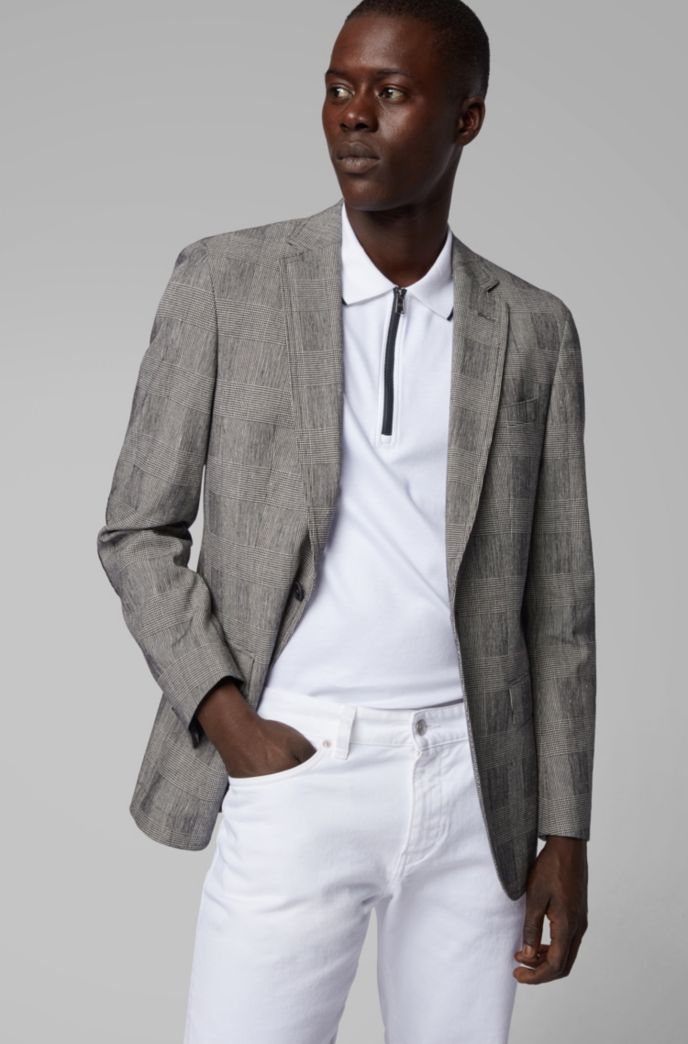 Slim-fit jacket in a checked stretch-cotton blend