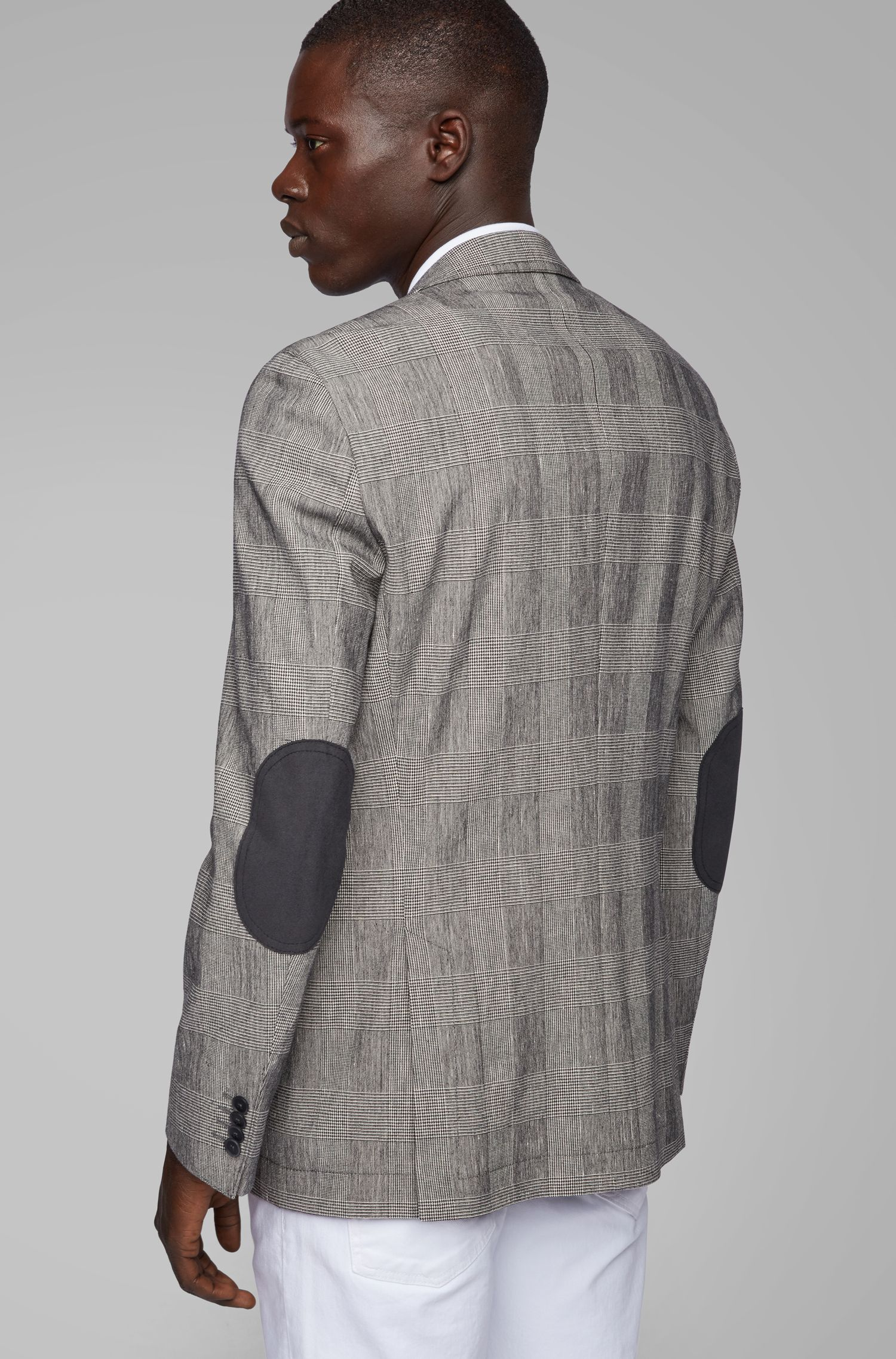 Slim-fit jacket in a checked stretch-cotton blend, Black