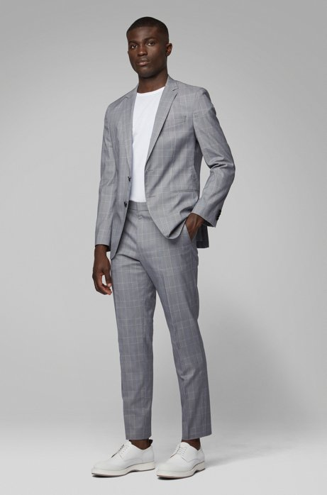 Slim-fit suit in a checkered stretch-cotton blend, Dark Blue