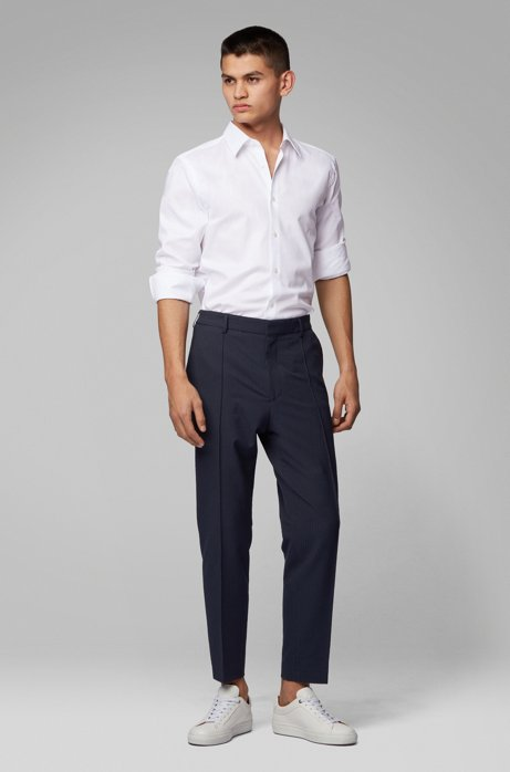 Cropped relaxed-fit pants in washable checked seersucker, Dark Blue